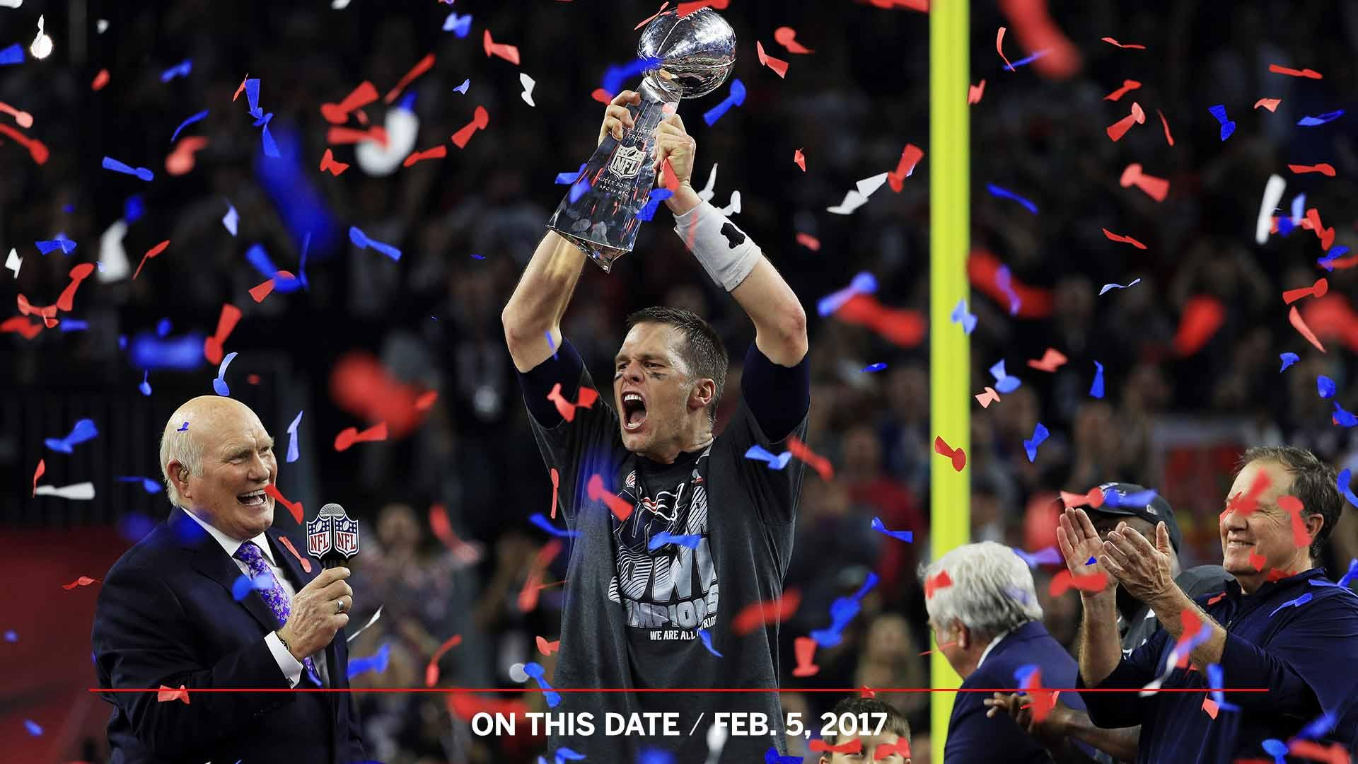 28-3. Brady's 5th ring.  2 years ago today, the Patriots completed an epic comeback to win Super Bowl LI. https://t.co/esBBD5vOXB