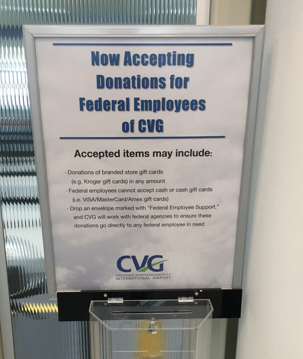 Relic of the US government shutdown: a donation box for federal employees at the Cincinnati/Northern Kentucky International Airport