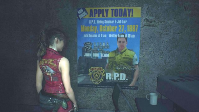 Resident Evil Facts On Twitter In Residentevil2 2019 The Room Under The Front Doors Of The Rpd Features A Poster Of Brad Vickers Referring To His Possible Appearance In The 1998 Original