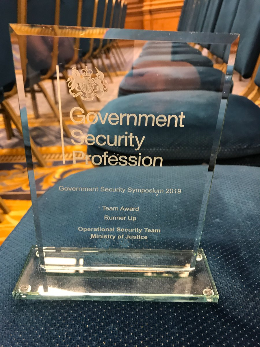 Well done to our amazing Operational Security Team who were recognised at today's Government Security Symposium awards for their excellent collaborative working.  Congratulations 🎉👏