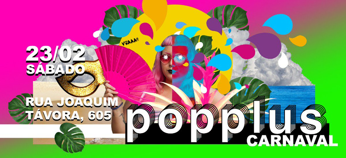 Que lindo o flyer do #poppluscarnaval com arte da @_claricefreire e a @satansemglitter carnagótica de modelo! ❤ Todas as infos do evento aqui. Sigam o @popplusBR https://www.facebook.com/events/2390290067648518/?ti=cl…