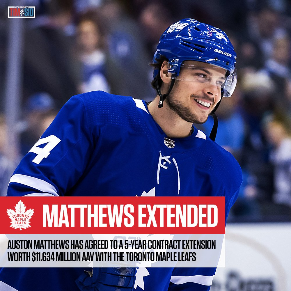 Auston Matthews has agreed to a 5-year contract extension with the @MapleLeafs, worth $11.634 million AAV.   Did Matthews do the Leafs a favour? 🤔  #HockeyTwitter #NHL