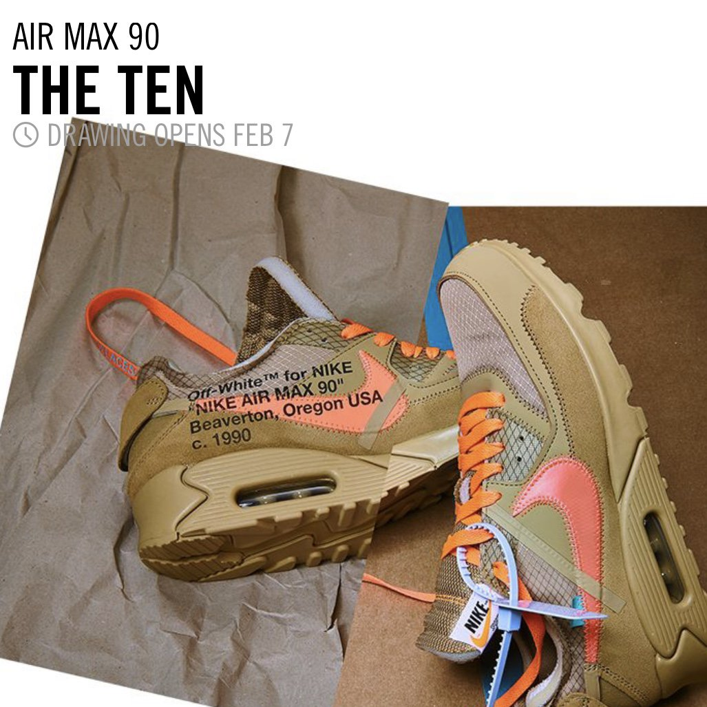 best loved 87160 dbd12 Off-White x Nike Air Max 90 releasing via SNKRS Draw February  7thpic.twitter.com 0VJz2GqOij. 10 33 AM - 5 Feb 2019