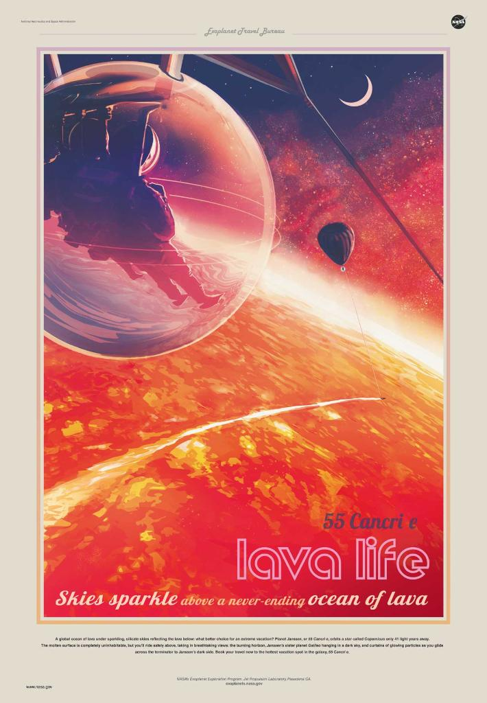 Lava Life: Skies Sparkle Above a Never-Ending Ocean of Lava. 55 Cancri e orbits a star called Copernicus only 41 light-years away.