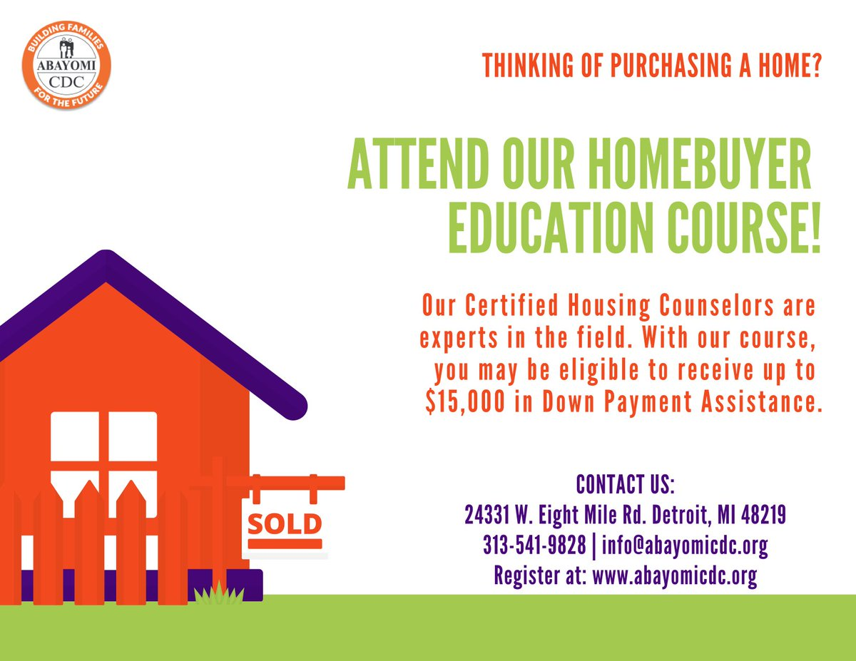 test Twitter Media - DON'T MISS IT: Our next Homebuyer Education Class is this Saturday, Feb. 9th from 9am-2pm. Registration ends this Friday at 3pm.  Can't make it? No worries! Check out our 2019 schedule and optional eCourse. https://t.co/4JQ4zqa1lA  #AbayomiCDC #Nonprofit #Detroit #HBE #Community https://t.co/ODu58LMWb0
