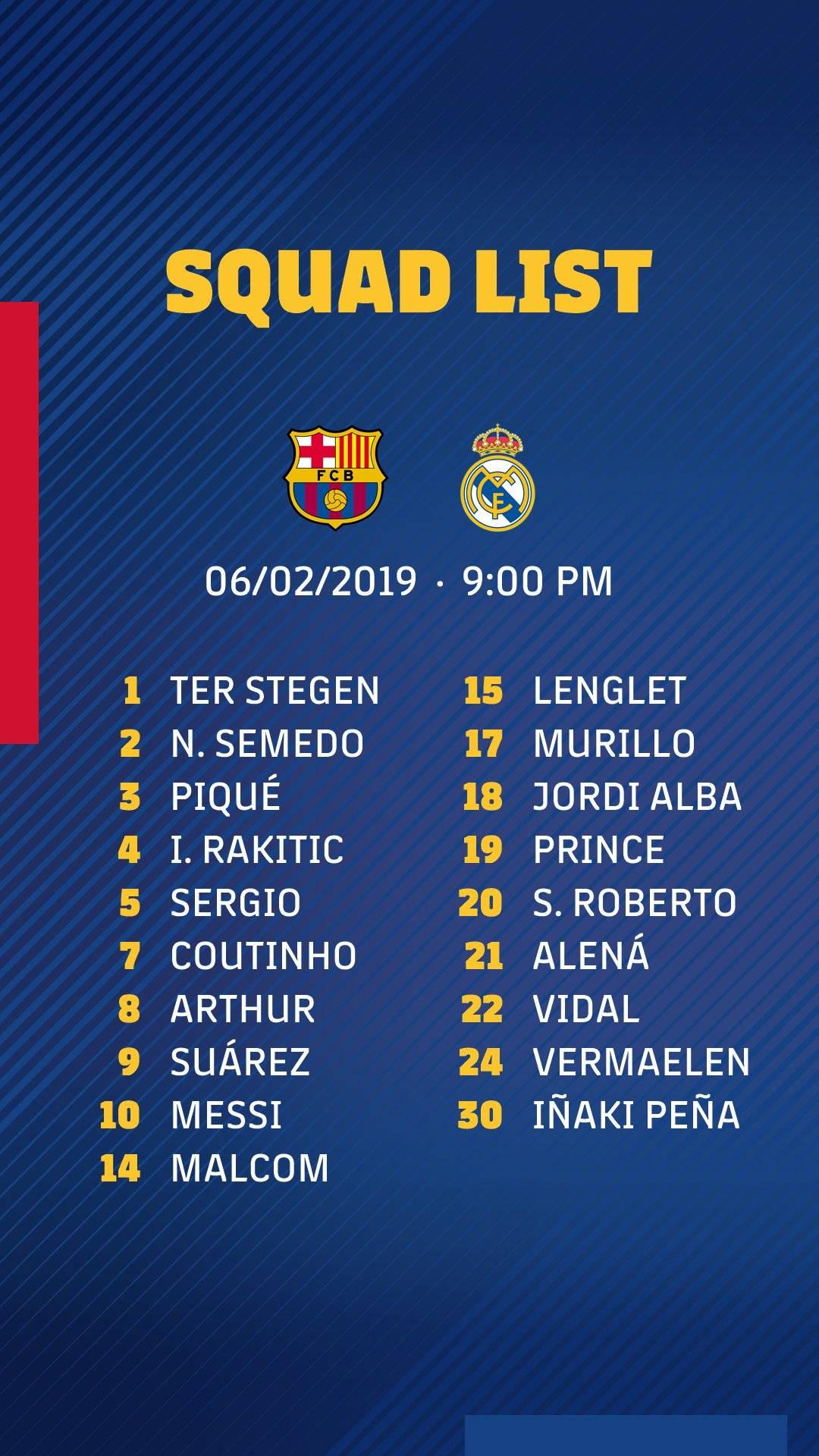 Selectie FC Barcelona vs Real Madrid