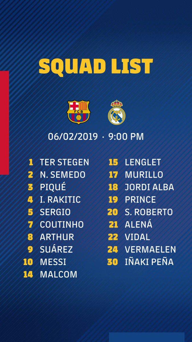 📋 قائمة لاعبي #برشلونة لمباراة #الكلاسيكو👇  🔜#ElClásico⏳#ForçaBarça💪