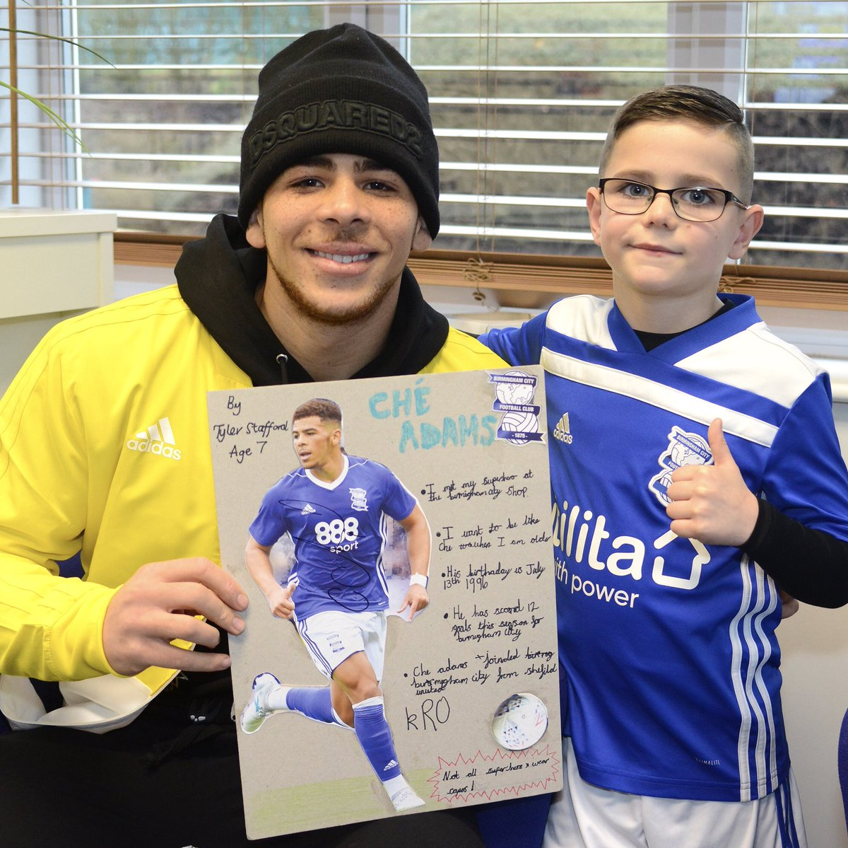 💙 Blues-mad Tyler Stafford was asked to do a piece of homework about superheroes.  The subject he chose? @CheAdams9.  When Che found out about it, he asked to meet Tyler so that he could see his work for himself and sign it. 👌  #BCFC