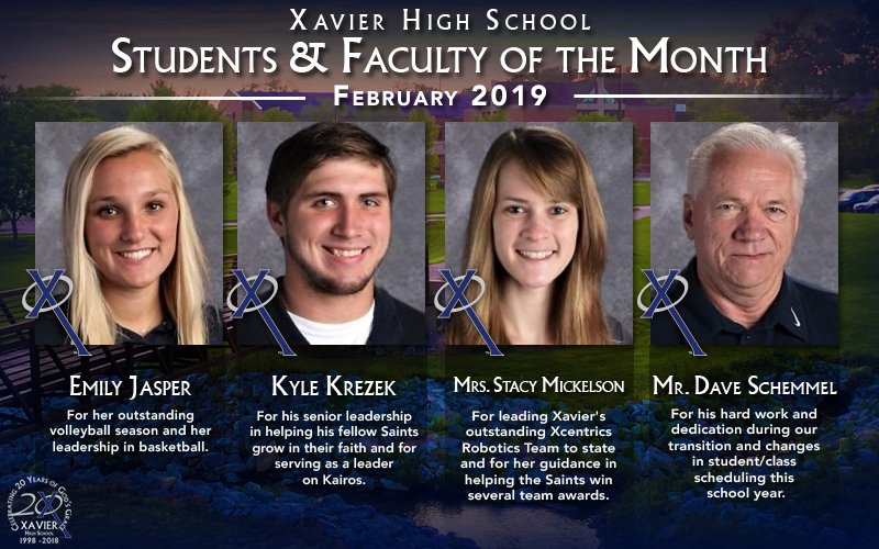 Congratulations to our February 2019 Students & Faculty of the Month! #WeAreXavier