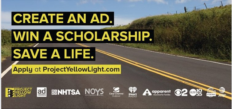 We are excited to announce our partnership with @projyellowlight and @AdCouncil by kicking off the Scholarship competition to prevent texting and driving.   https://projectyellowlight.com/