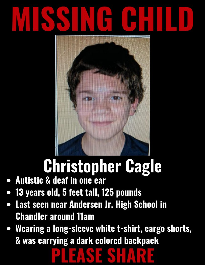 MISSING CHILD: Contact police if you see 13-year-old Christopher Cagle who ran away from Andersen Junior High School in Chandler around 11a.m.   He has autism & is due for prescribed medication.