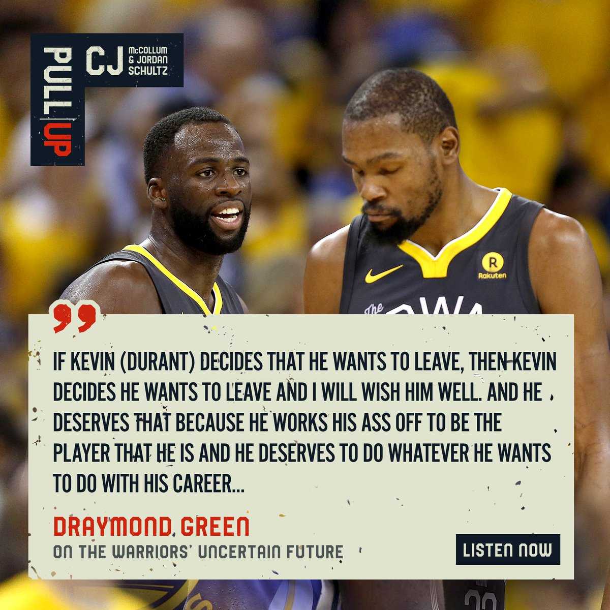 a5c41dc9d8d0 Draymond Green weighs in on the Warriors  uncertain 2019 free agency. Full  episode of the Pull Up Podcast (with CJ McCollum   Jordan Schultz) out  tomorrow.