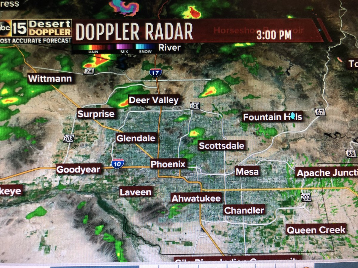 Now: Rain is developing across the Valley. It's spotty but expect the commute to be a bit messy #abc15 #forecast