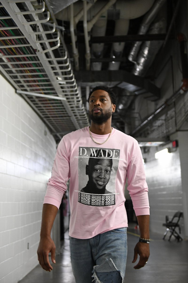 ".@DwyaneWade's rocking a ""world tour"" shirt with his best career moments on it 👀 What was your favorite?  Shop the D-Wade x B/R World Tour collection 🛒 http://dwade.co/2BiBmE8"