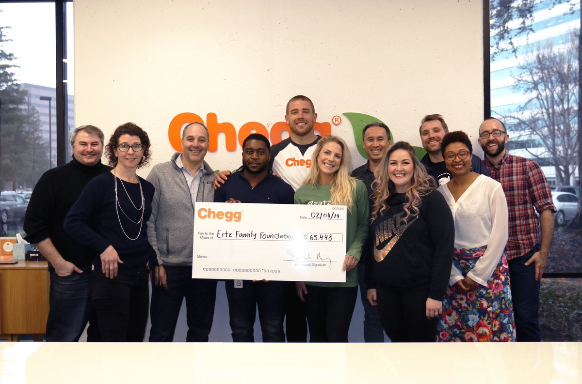 This past season, through incredible generosity, @Chegg donated to @ErtzFoundation for every first down catch and touchdown I made! Forever grateful for this partnership. Can't wait to see the lasting impact it will make in OUR community! Thank you Chegg!