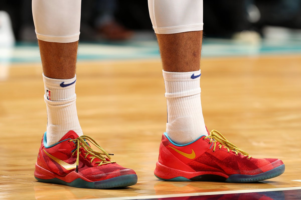 """brand new c6a56 a2911 tobias31 wearing the Nike Kobe 8 """"Year of the Horse"""" tonight against  Charlotte."""