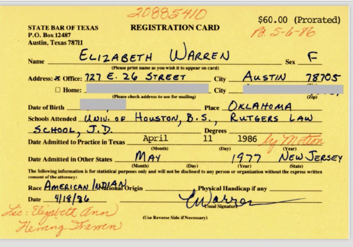 "This is from Elizabeth Warren's registration for the Texas Bar, filled out in her own hand and calling herself ""American Indian."" She has insisted she never used that identity to ""get ahead."" You decide."