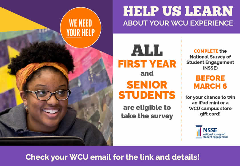 Student checklist: 1. Search your WCU email for NSSE survey 2. Take the survey 3. Win stuff!