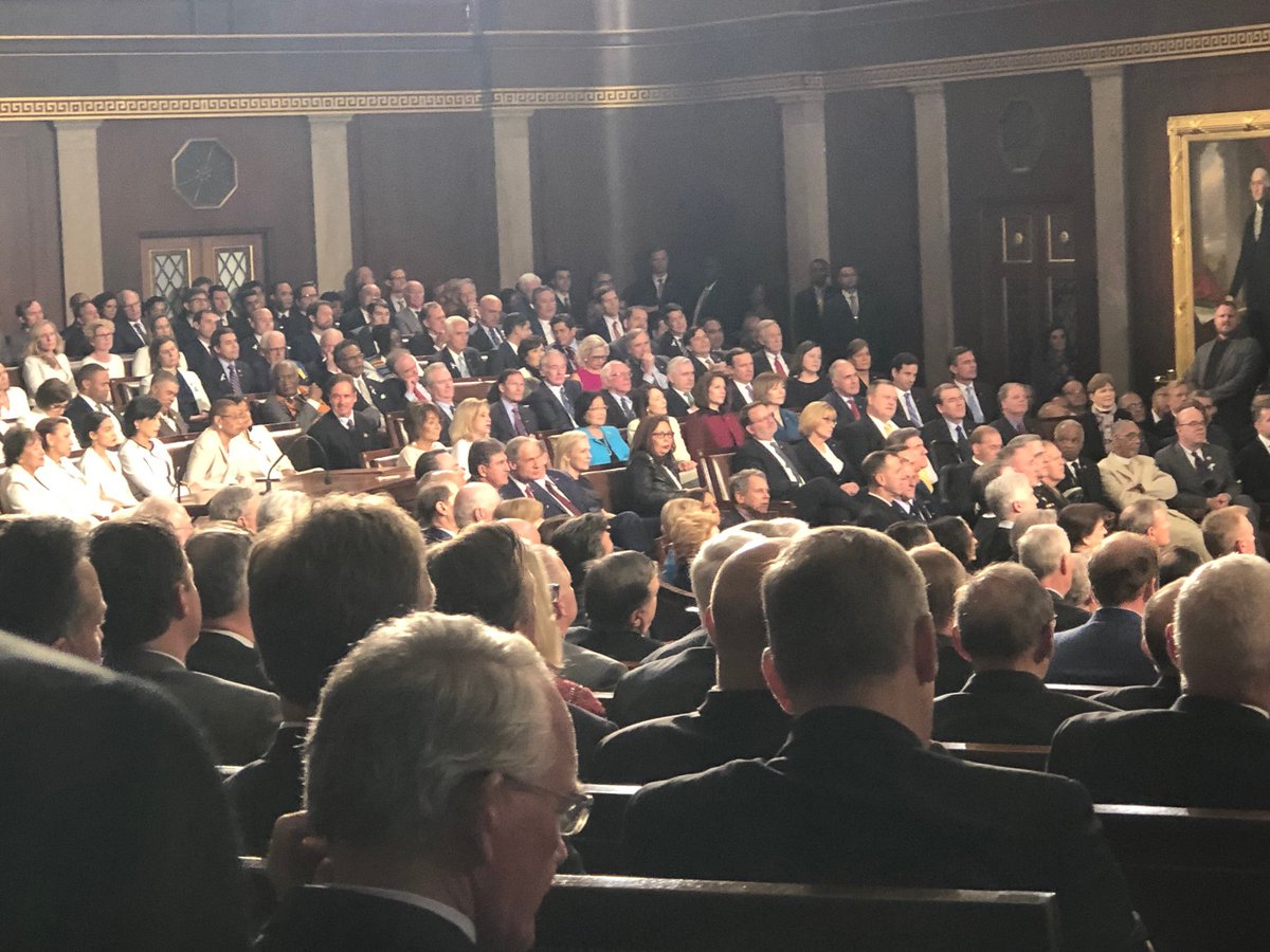 I saw one #Democrat stand up - but it turns out he was just going to the bathroom. #SOTU19