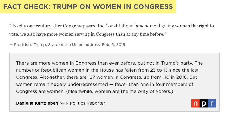 FACT CHECK: President Trump praised the record number of women in Congress, but that's almost entirely because of Democrats, not Trump's party. https://n.pr/2BmFmn4