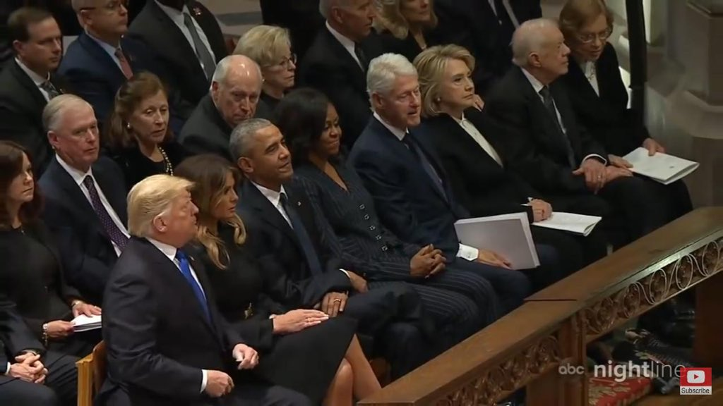 Last month, rare moments of all 3 living former US Presidents and their first ladies were with the current President and First Lady at the funeral of George Bush. Off course the fourth living couple, George W and Laura Bush were sitting in the family section. #POTUS #BushFuneral
