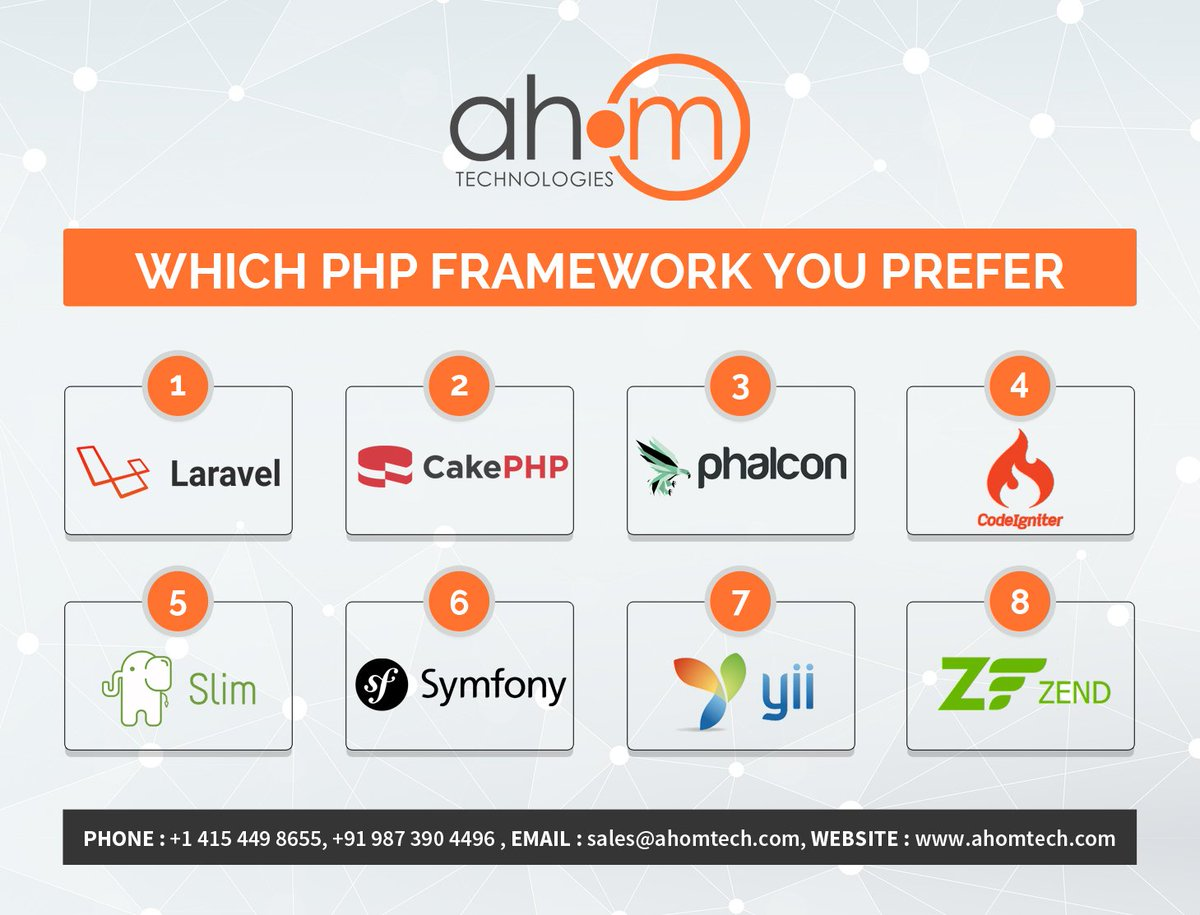 Which PHP Framework would you be choosing next for your upcoming project?  #phpframework #php #laravel #cakephp #phalcon #codeigniter #slim #symfony #yii #zend #ahom #ahomtech #ahomtechnologies