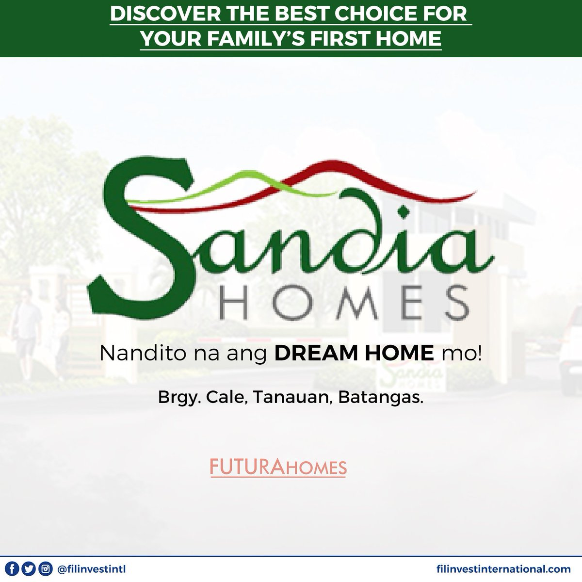 Located in a rapidly growing area and with complete amenities, Filinvest Sandia Homes is the best place to settle in Batangas especially if you want a place you can live permanently.  #FilinvestorInspires #Filinvest #FilinvestInternational #OFW #Investment #RealEstate https://t.co/Z4aZX8PbkO