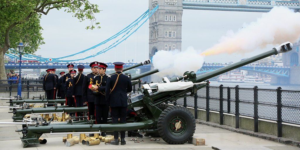 Today at 1pm, there will be a 62-round gun salute to mark the 67th anniversary of HM The Queen's accession to the throne. 21 rounds are fired for a royal anniversary, an extra 20 as the Tower is a royal palace and fortress, and a further 21 for the City of London.