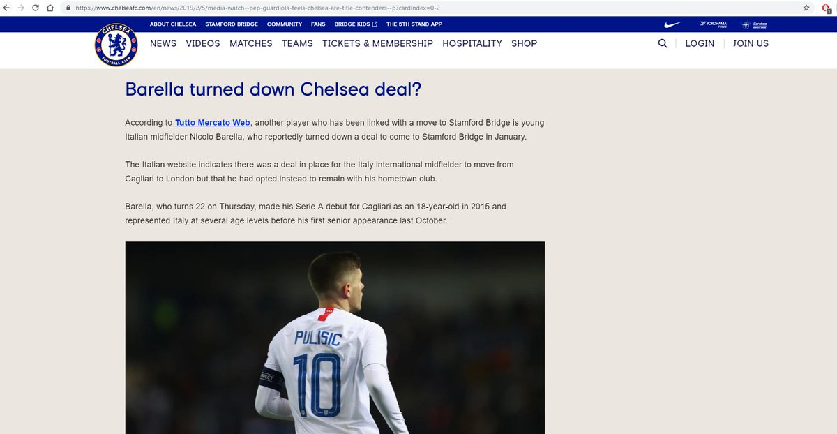 Gossip round-ups on official club websites are sooo weird. Genuinely intrigued: what do Chelsea gain from sharing a story from Tutto Mercato that portrays them in a less than ideal light? 🤔