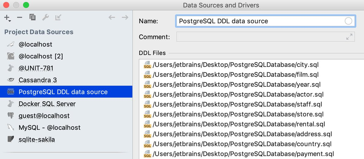 Jetbrains Datagrip On Twitter Today S Tip Ddl Data Source If You Have Files With Create Statements You Can Make A Data Source From Them So You Can See The Database Tree And