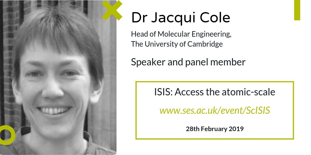 test Twitter Media - Welcome Dr Jacqui Cole from @Cambridge_Uni @DeptofPhysics to #ISISatomic. She'll be joining our Panel to answer questions as well as discussing molecular level #solar cell research on @isisneutronmuon. For the full programme/to register, visit: https://t.co/k4VFko7VFP https://t.co/idOu82UTA7
