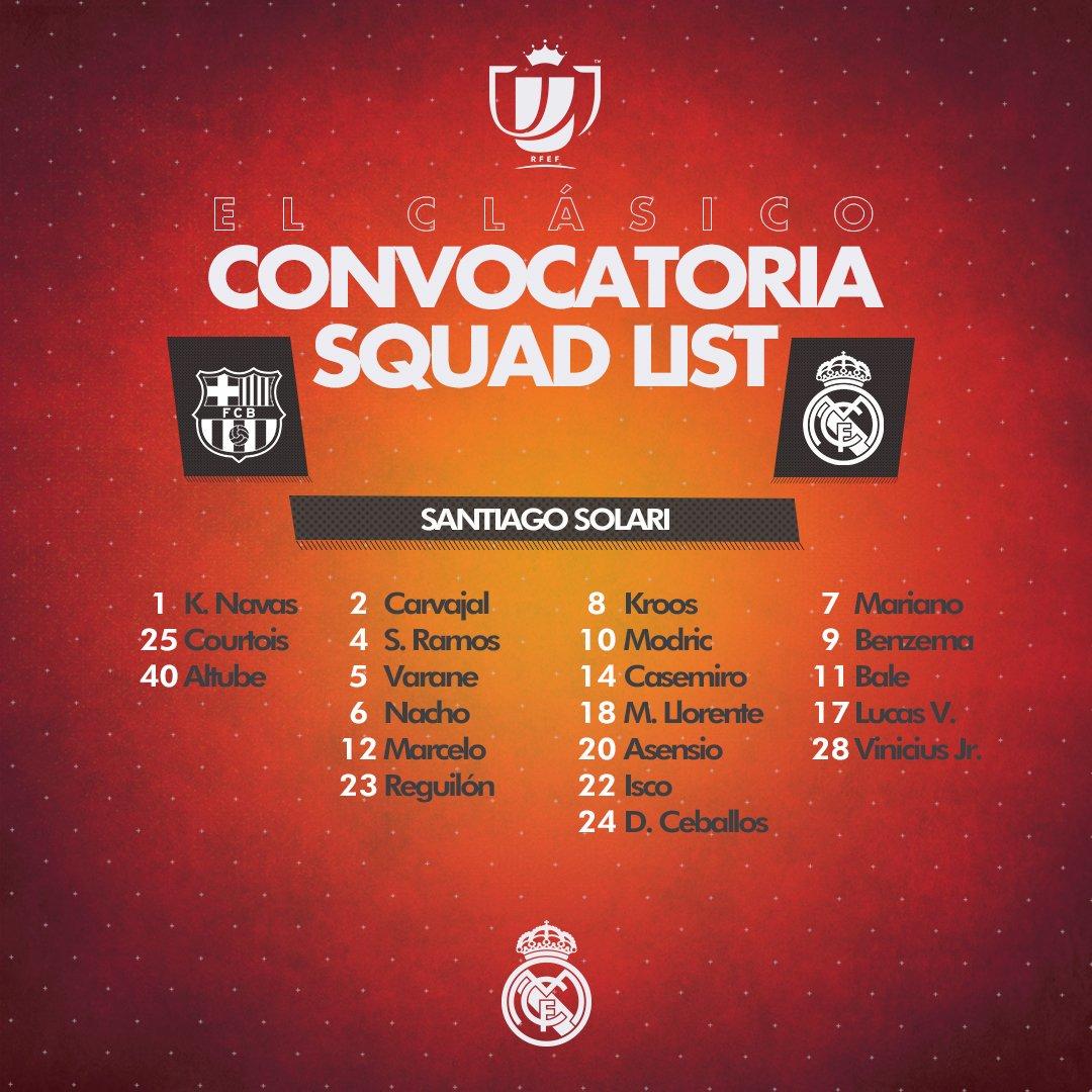 ¡Lista de convocados del @realmadrid para el #RMClasico de esta noche! #RealMadrid #RMCopa #BarcelonaRealMadrid #HalaMadridYNadaMás #MadridismoUnido #APorLa20