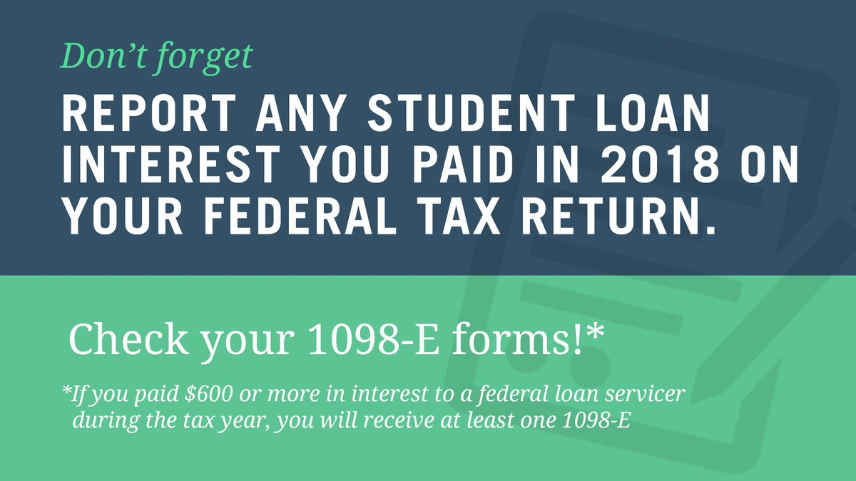 """Federal Student Aid på Twitter: """"If you made federal student loan payments  in 2018, you may be eligible to deduct a portion of the interest paid on  your 2018 federal tax return."""