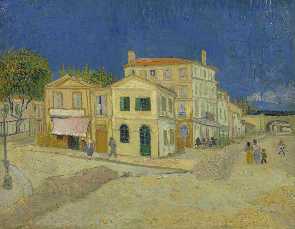 Vincent often painted his immediate surroundings. In this work, he painted the street where he lived in Arles. He lived and worked in the Yellow House on the corner. The home of his friend, the postman Joseph Roulin, was just beyond the second railway bridge. #VanGoghCaptures