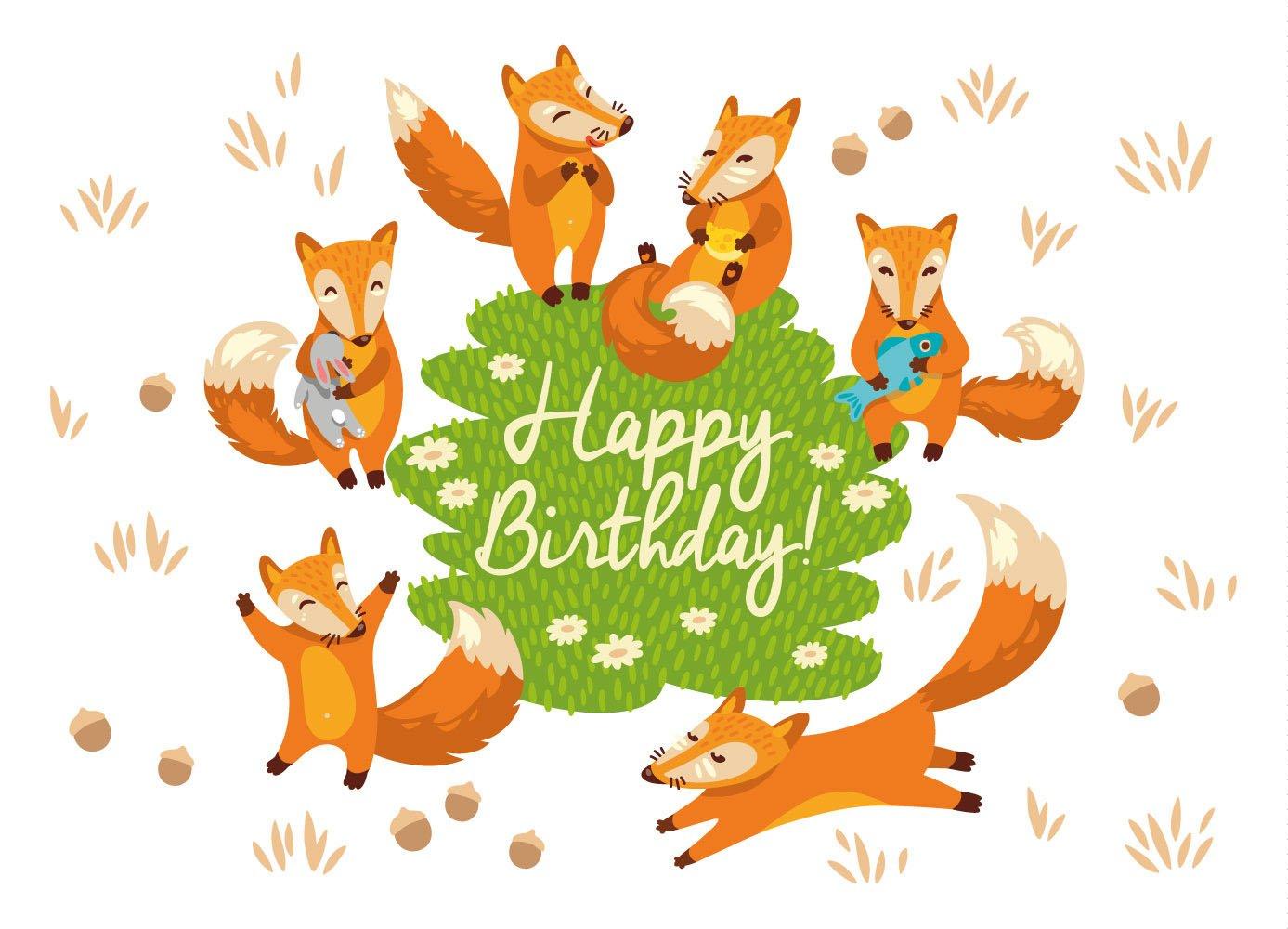 Смешные картинки, открытки к дню рождения с лисичкой
