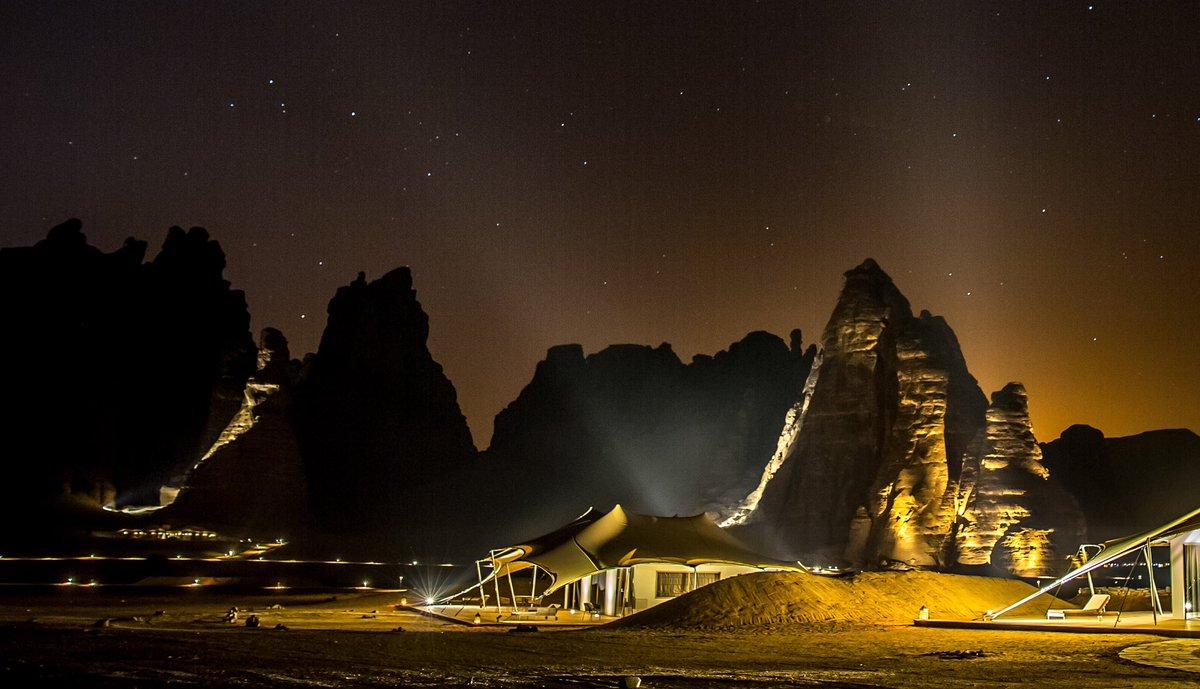 The stars shine bright in Al-Ula.  Our home in the desert :) ... Yanni   Photo by @Krystalan_C  #winterattantora