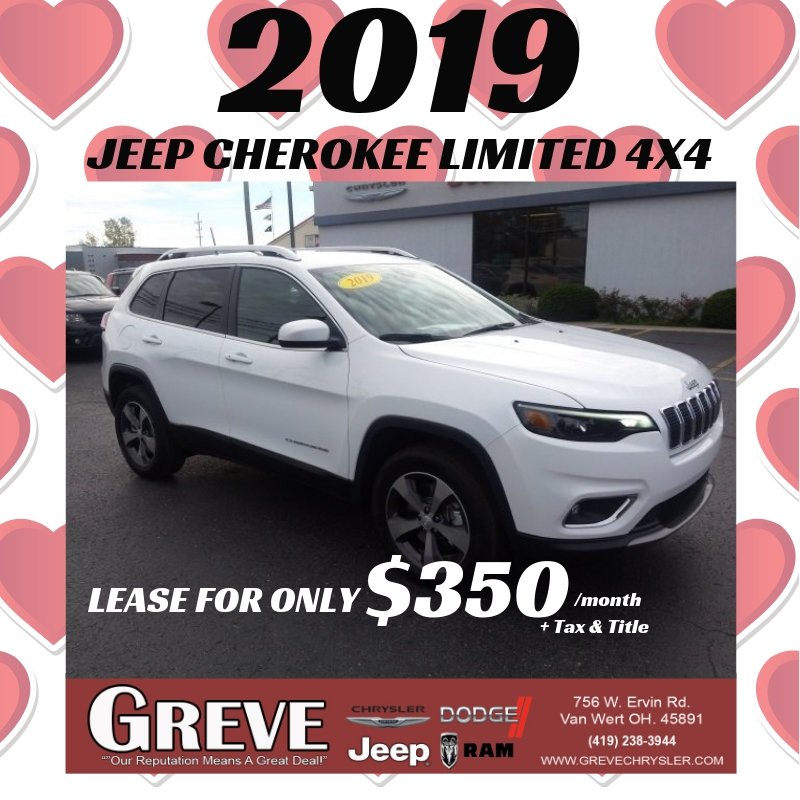 greve chrysler على تويتر deal of the day you can lease this new 2019 jeep cherokee limited 4x4 for only 350 monthly plus tax title stop in let s put you twitter