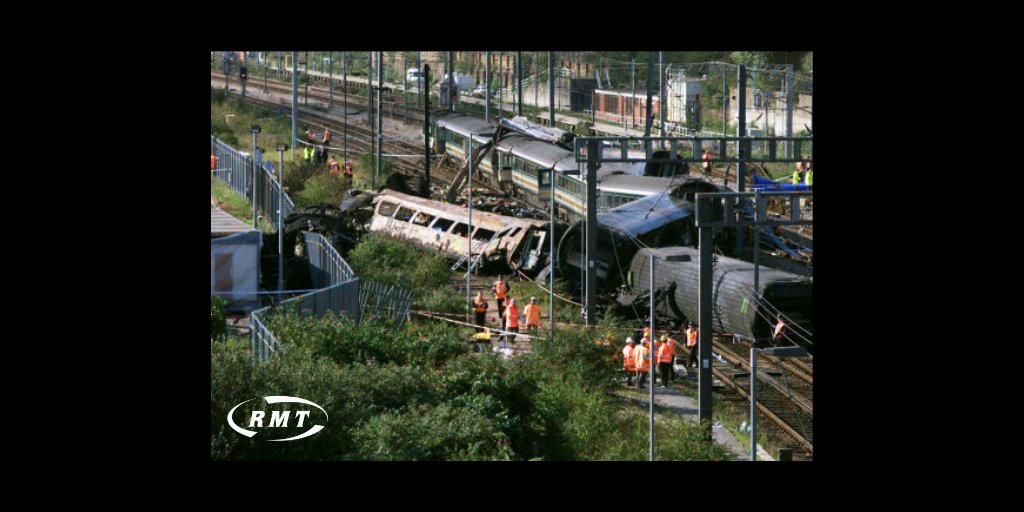 @RMTunion remembers: Ladbroke Grove - On this day in 1999 Thames Train diesel passed signal SN109 at danger and collided with FGW express train, 31 people, including the drivers of both trains involved, were killed, and 227 people were admitted to hospital.