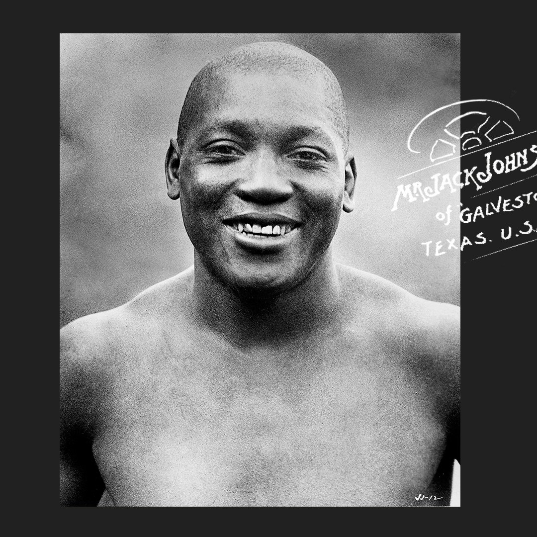 𝐅𝐞𝐛𝐫𝐮𝐚𝐫𝐲 = 𝐁𝐥𝐚𝐜𝐤 𝐇𝐢𝐬𝐭𝐨𝐫𝐲 𝐌𝐨𝐧𝐭𝐡  Jack Johnson, AKA the Galveston Giant, was the first black heavyweight champion of the world. After many refused to fight him, due the color of his skin, he had to wait until 1908 to win the title off of Tommy Burns.