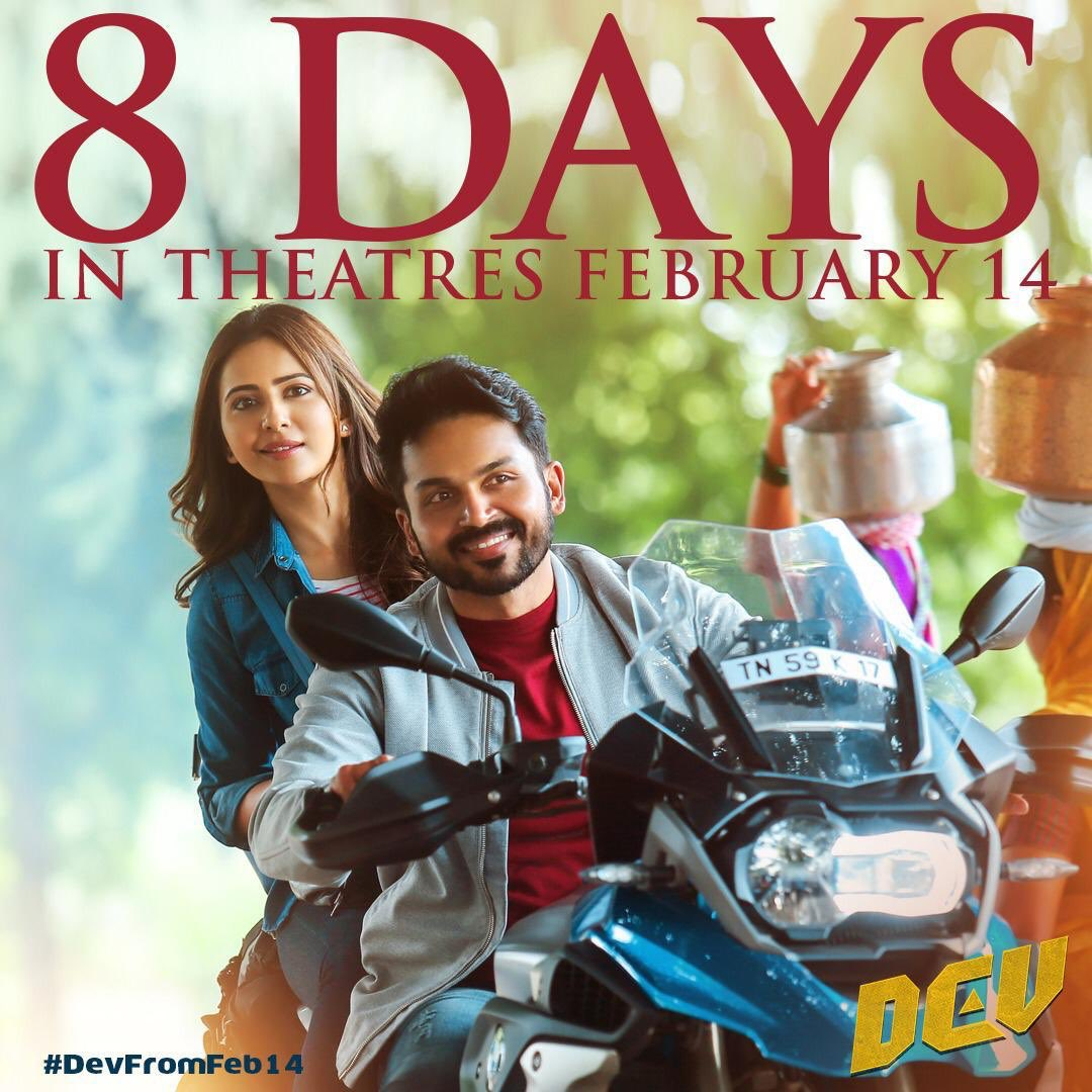 8 days to have the best hangout on #ValentinesDay, @DevTheMovie. #DevFromFeb14   Here is the Trailer Link     @Karthi_Offl @Rakulpreet @Jharrisjayaraj @RajathDir @lakku76 @RelianceEnt  @LightHouseMMLLP @SunTV @PrincePictures_ @DuraiKv #MuraliCineArts