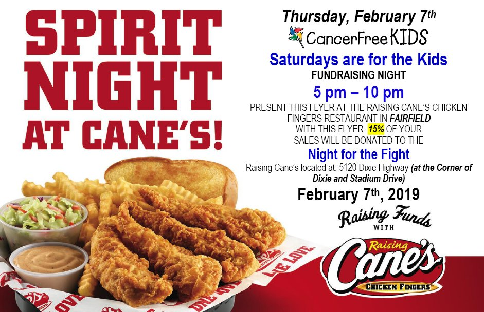 @Raising_Canes in Fairfield is hosting a fundraiser this Thursday night for @BadinHS students who are attending @Night4theFight. Come support these students.  They have done an awesome job fundraising. #raisingcanes