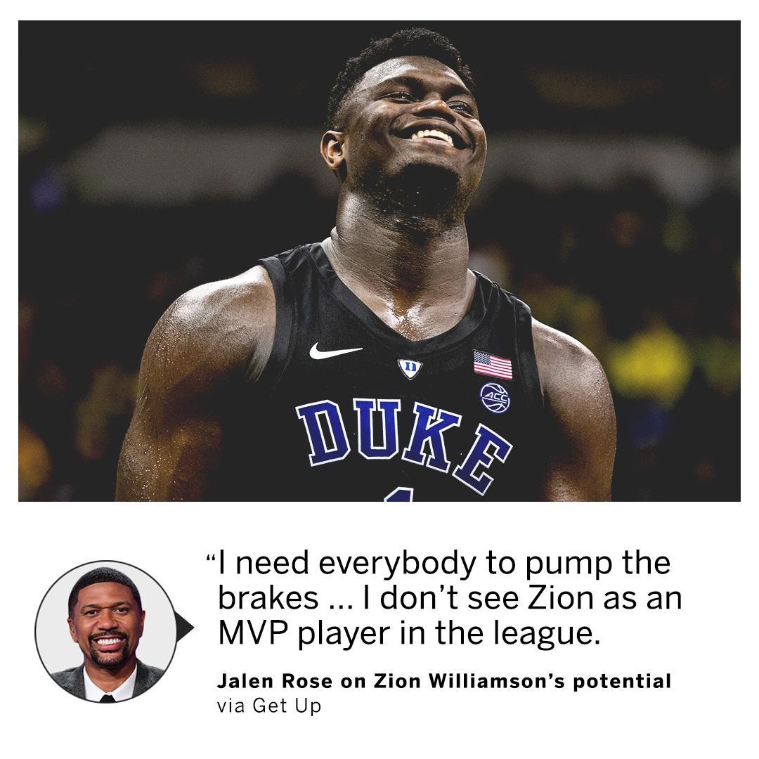 .@JalenRose has Zion as an elite prospect, but not as an MVP-caliber talent.   (via @GetUpESPN) https://t.co/NiwaAW41FY