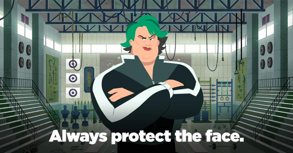 """#WednesdayWisdom from Coach Brunt: """"Always protect the face, unless you want to end up with a mug like mine."""" #VILEsoVile #CarmenSandiego"""