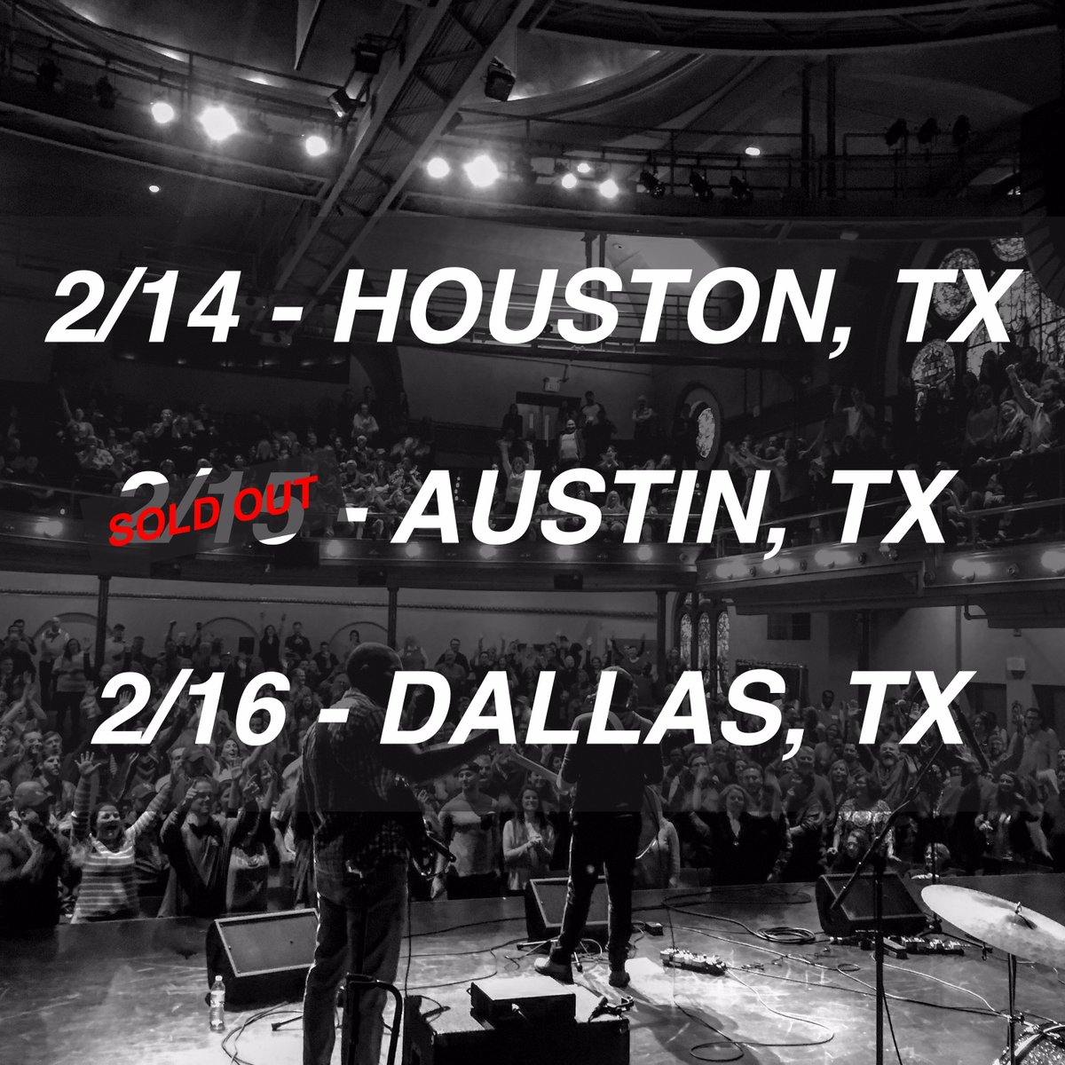 Low ticket alert! Only a few tickets left for my upcoming shows in Texas with @davidgracemusic. Get em while you still can! Tickets: Houston, TX (2/14) - https://bit.ly/2TAC1YS  Austin, TX (2/15) - SOLD OUT Dallas, TX (2/16) - https://bit.ly/2Gywbnl