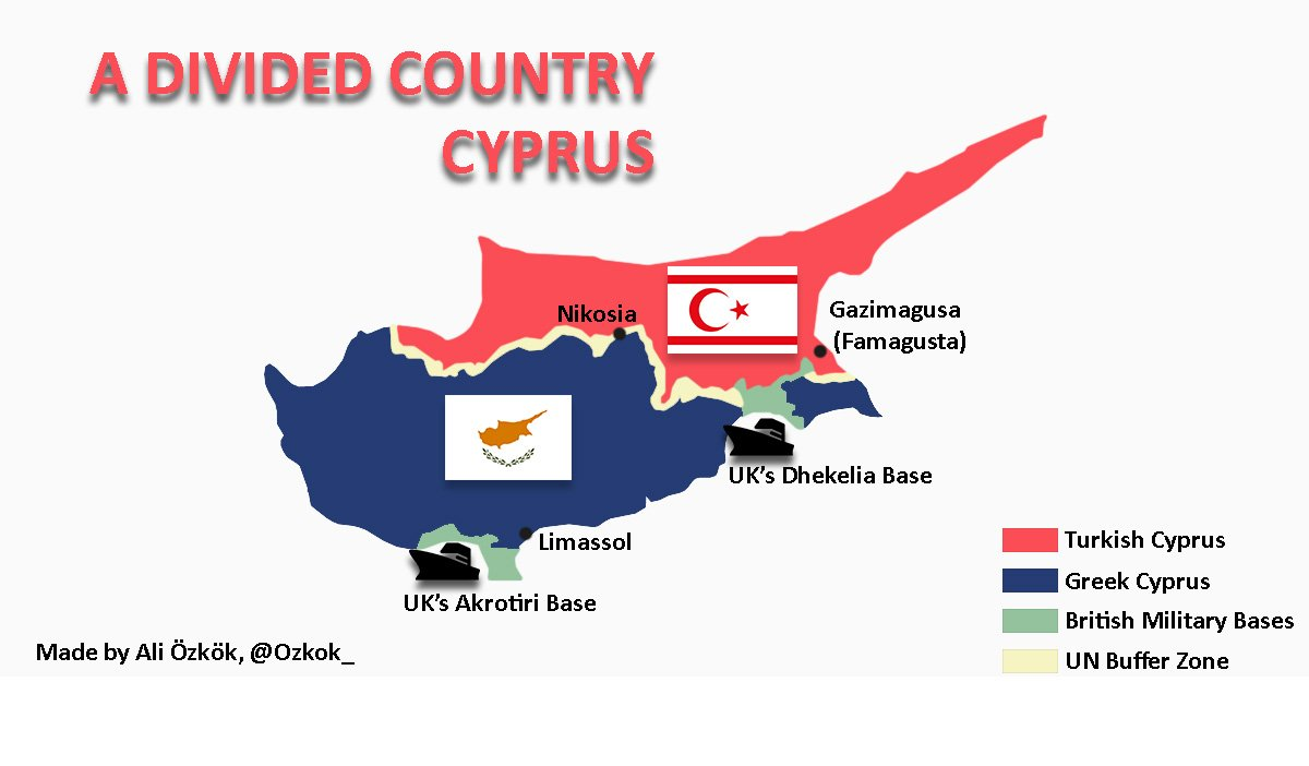"Ali Özkök on Twitter: ""My latest 🌍map: #Cyprus, a divided country… """