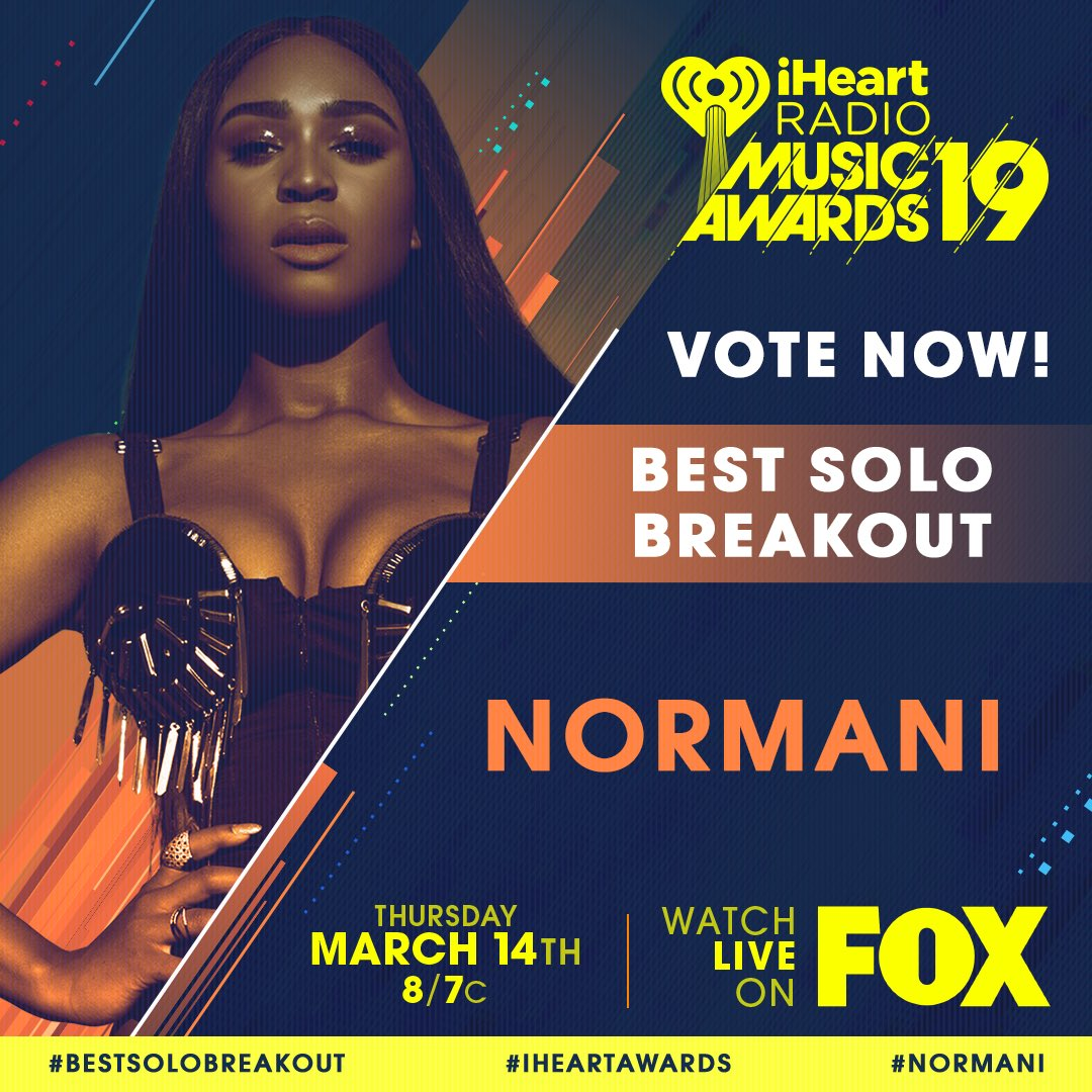 RT to vote for #Normani for #BestSoloBreakout! #iHeartAwards