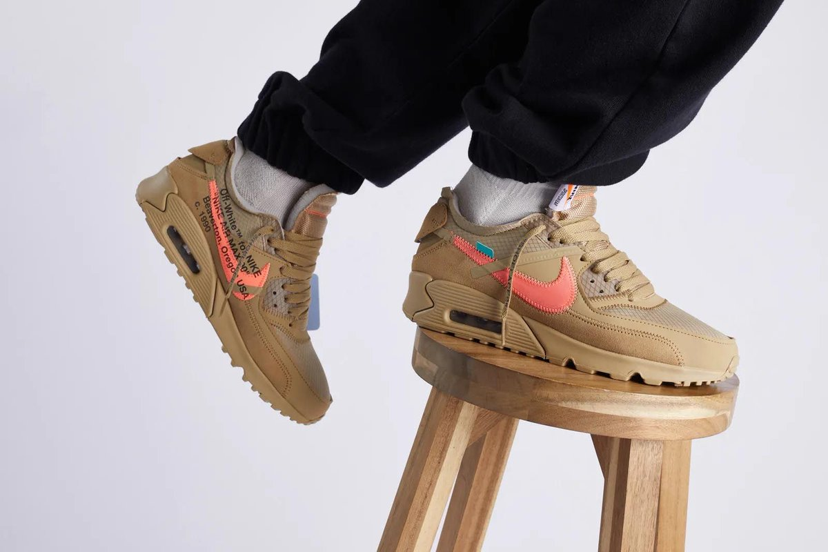 new style 81f8f 6716e RELEASE REMINDER   Launching at 9am GMT Off-White x Nike Air Max 90 Desert  Ore ...