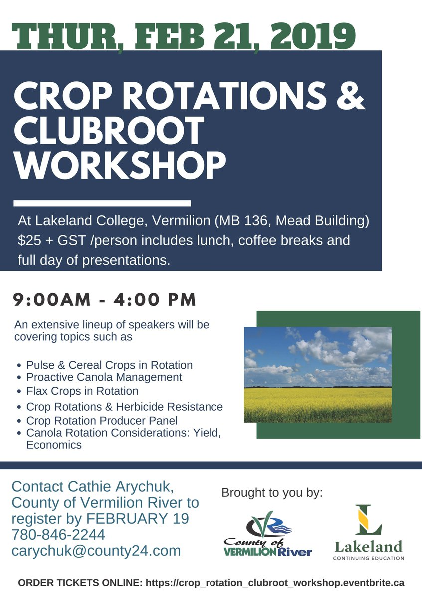 Still time to register for this great full day workshop on Crop Rotations and Clubroot - Feb 21 brought to you by @LakelandCollege and #CVRiver!  https://www.eventbrite.ca/e/crop-rotations-clubroot-workshop-tickets-55308032815?ref=estw…