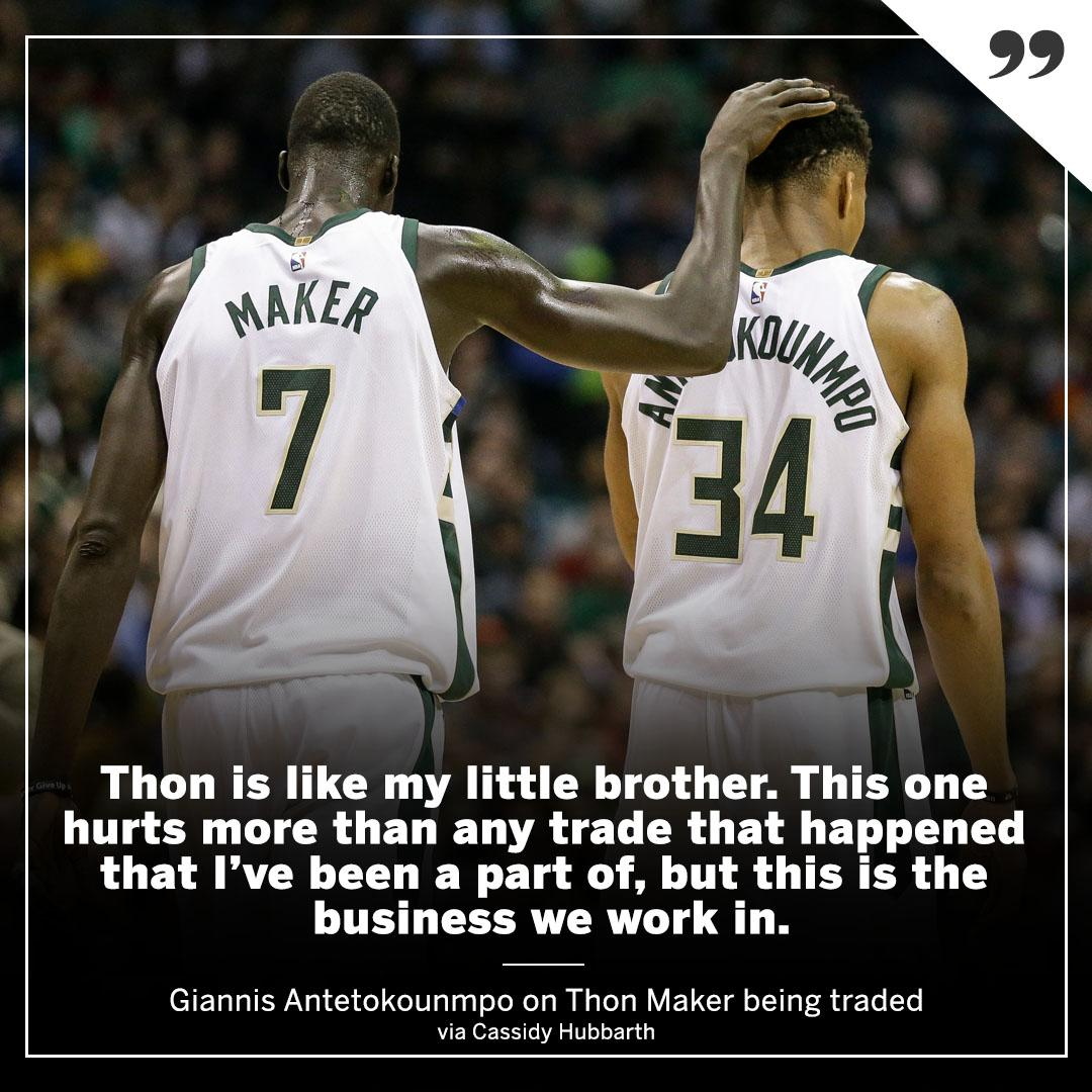 Thon Maker's trade is weighing heavy on Giannis. (via @CassidyHubbarth) https://t.co/Yl3Zvf68Ea