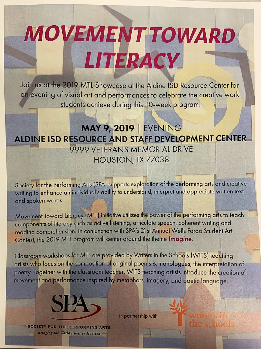 Wits Houston Witshouston  Twitter Im So Excited For This Opportunity For My Students Aldineart  Allinaldine Writing Witspictwittercomlcbhtqjcl